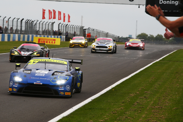 The #47 crosses the line at Donington